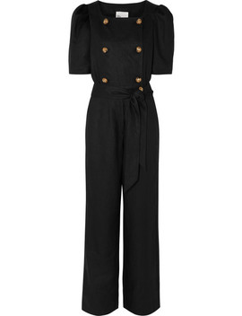 Diana Belted Double Breasted Linen Jumpsuit by Lisa Marie Fernandez
