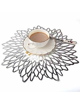 Eqi Round Silver Placemats,Silver Table Mats, Plate Chargers For Dining/Kitchen Table, Perfectly Matching Table Runners For Wedding,Restaurant,Party(Silver, 6) by Eqi