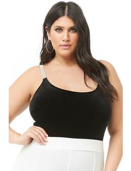 Plus Size Velvet Rhinestone Bodysuit by Forever 21