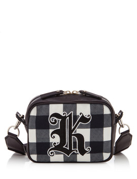 Black Leather Gingham Cross Body by Christopher Kane