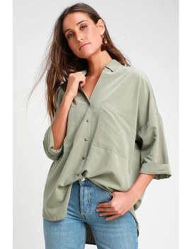 Revelry Light Olive Green Oversized Button Up Top by Lulu's