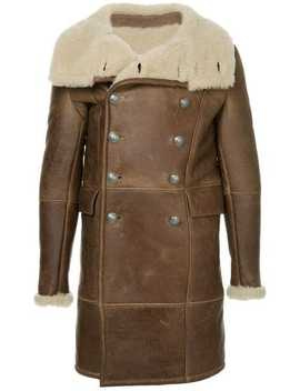 Shearling Double Breasted Coat by Balmain