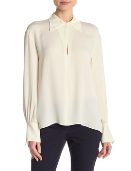 Silk Keyhole Point Collar Blouse by Theory