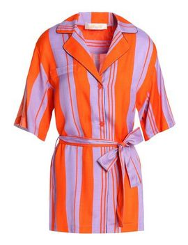 Bow Detailed Striped Silk Blend Shirt by Diane Von Furstenberg