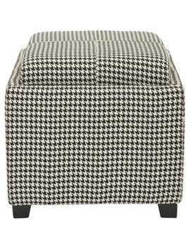 Safavieh Broadway Single Tray Hounds Tooth Storage Ottoman by Safavieh