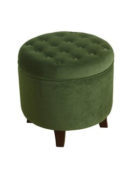 Home Pop Velvet Round Storage Ottoman Forest Green by Home Pop
