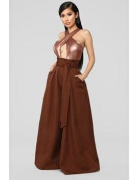 I'd Remember You Sequin Jumpsuit   Bronze by Fashion Nova