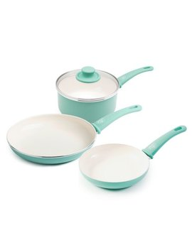 Green Life Ceramic Non Stick 4 Piece Cookware Set, Turquoise by Green Life