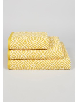 100 Percents Cotton Geometric Pattern Towels by Matalan