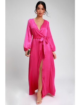 Acadiana Fuchsia Satin Long Sleeve Maxi Dress by Lulus
