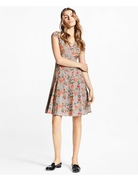 Floral Embroidered Mini Houndstooth Cotton Dress by Brooks Brothers