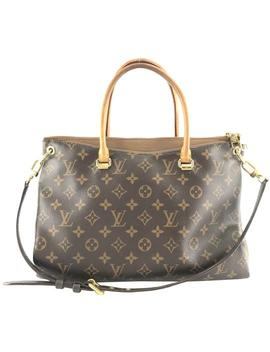 Pallas #26615 Rare Two Way Satchel Hand Tote Every Day Monogram And Brown Leather With Vachetta Leather Coated Canvas Shoulder Bag by Louis Vuitton