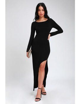 Charmed Life Black Long Sleeve Asymmetrical Maxi Dress by Lulus