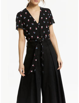 Somerset By Alice Temperley Tie Waist Floral Blouse, Black by Somerset By Alice Temperley