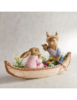 Angelo &Amp; Amelia The Natural Bunnies In Canoe by Pier1 Imports