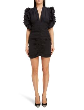 Ruched Ruffle Sleeve Stretch Silk Body Con Dress by Isabel Marant