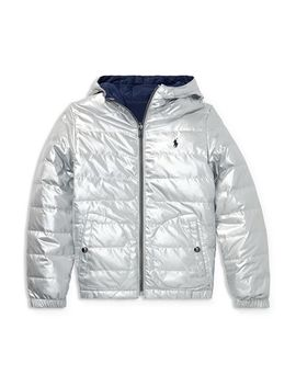 Boys' Reversible Metallic Quilted Down Jacket   Big Kid by Polo Ralph Lauren