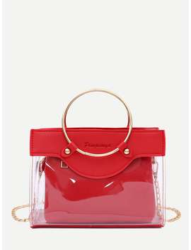 Clear Ring Handle Bag With Inner Clutch by Romwe