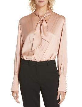 Tie Neck Silk Charmeuse Bodysuit by Jonathan Simkhai