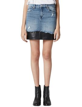 Mixed Media Denim Skirt by Blanknyc