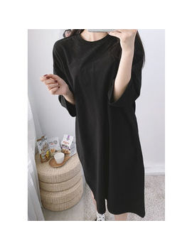 Lol Oten   Tall Size Cropped Sleeve Midi T Shirt Dress by Lol Oten
