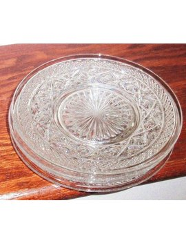 "4 Imperial Cape Cod 8 1/4"" Clear Glass Plates Round Crystal Ohio Usa Pattern #160 Bases Heavy Pressed Dessert Salad Excellent Condition by Etsy"