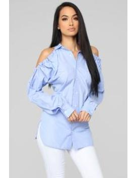 Alluring You Top   Blue/White by Fashion Nova