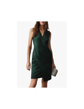 Reiss Raquel Wrap Over Satin Dress, Dark Green by Reiss