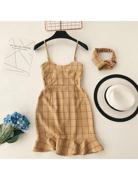 Lucuna   Set: Spaghetti Strap Ruffle Hem Plaid Dress + Bandana by Lucuna