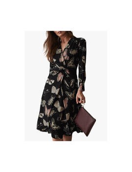 Reiss Lita Butterfly Print Twist Front Dress, Multi by Reiss