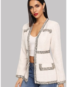 Contrast Whipstitch Detail Tweed Coat by Shein