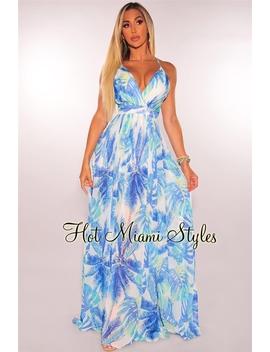 White Blue Palm Print Criss Cross Maxi Dress by Hot Miami Style