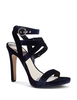 Women's Strappy Velvet High Heel Sandals by Karen Millen