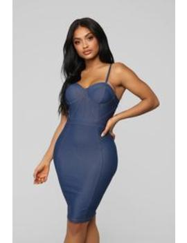 Denim Me Down Midi Dress   Dark Denim by Fashion Nova