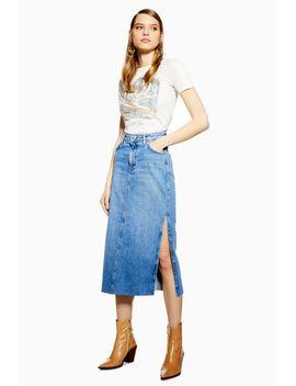 Split Denim Midi Skirt by Topshop