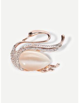 Swan Shaped Gemstone Brooch by Shein