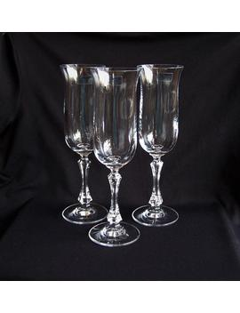 Towle Fluted Champagne Glasses With Vertical Optic Bowls And Faceted Stems, 3 Vintage 24 Percents Lead Crystal Champagne Glasses by Etsy