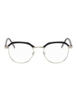 Silver & Black Sl 124 Glasses by Saint Laurent