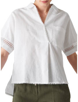 Whistles Kristyn Lace Insert Shirt, White by Whistles