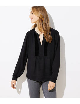 Velvet Dot Split Neck Blouse by Loft