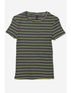 Short Sleeve Rib T Shirt Stripe by Cotton On