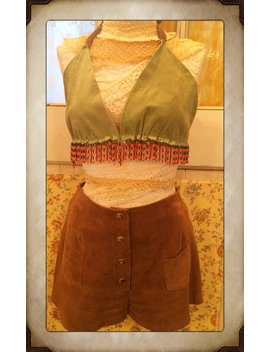Vintage Tan Suede Shorts With Pockets And Snap Buttons by Etsy
