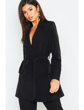 Wrap Detail Belted Blazer by Boohoo
