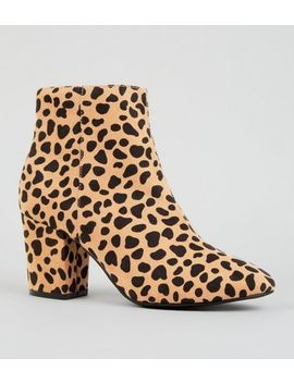 Brown Leopard Print Mid Block Heel Ankle Boots by New Look