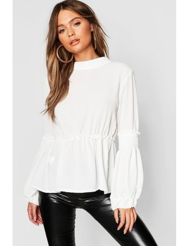 Woven Sheared Balloon Sleeve Blouse by Boohoo