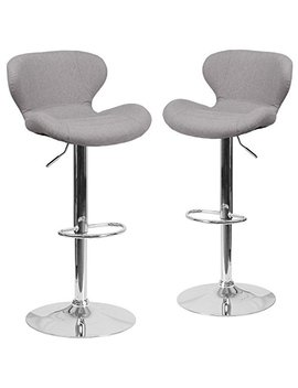 Flash Furniture 2 Pk. Contemporary Gray Fabric Adjustable Height Barstool With Chrome Base by Flash Furniture