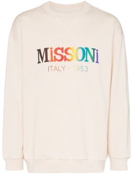 Logo Print Dropped Shoulder Cotton Sweatshirt by Missoni