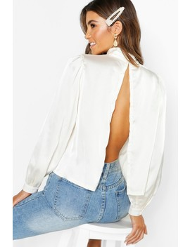 Satin High Neck Open Back Blouse by Boohoo