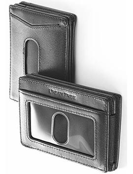 Compact Rfid Card Sleeve Wallet Premium Leather Money Clip Card Holder For Up To 10 Cards by Urban Tribe