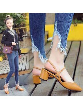 Weiya   Faux Leather Slingback Block Heel Sandals by Weiya
